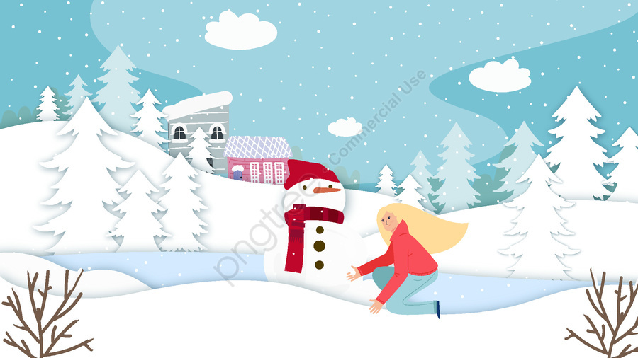 c9a1b57041e0 Winter Paper Cut Snow Scene Snowman Girl Vector Illustration ...