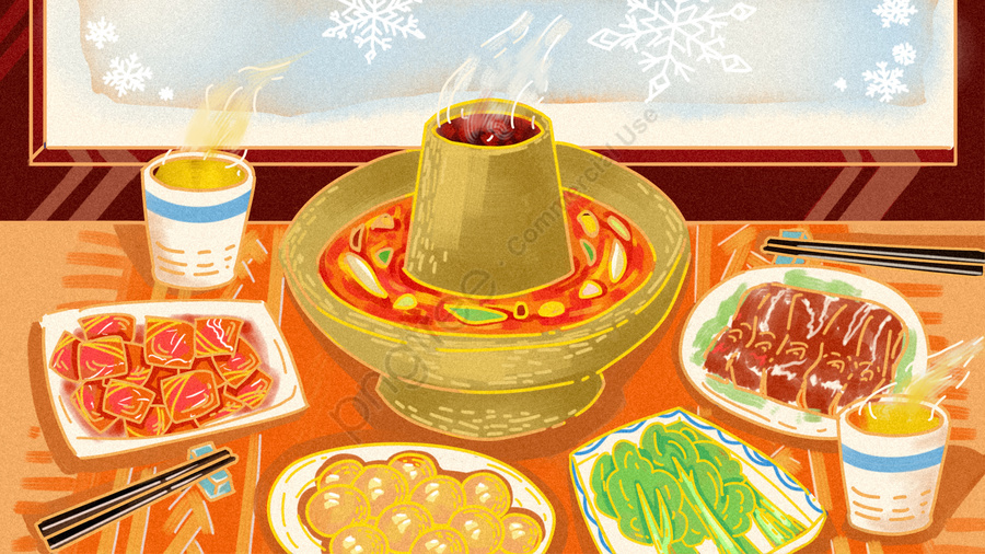 Winter Food Hot Spicy Pot Window Snowflake Stroke Line Drawing Hand Drawn Illustration, Winter, Winter, Food llustration image
