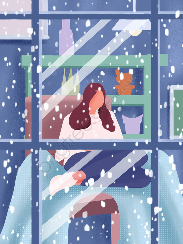 Winter Whispering Girl Watching Snow Hand Drawn Poster Illustration Wallpaper, Winter, Snowing, Snow llustration image