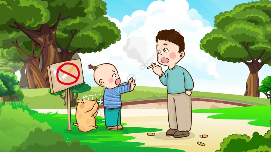 世界禁煙日子供たちは森林火災を防ぐために喫煙から大人を止めます, 世界禁煙の日, 禁煙の日, 禁煙です llustration image