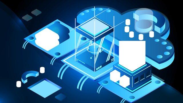 2.5d dark blue breathable business office artificial intelligence vector illustration, 2.5d, 2.5d, 25d illustration image