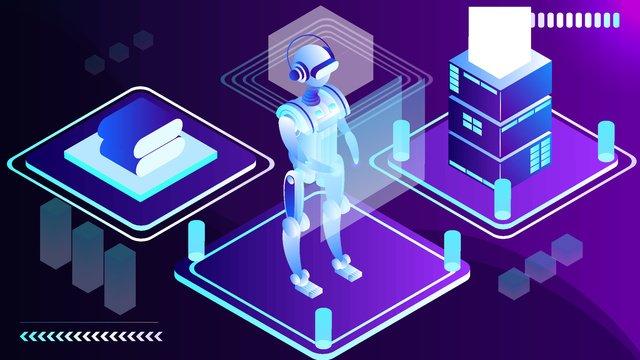 2.5d technology future artificial intelligence robot vector illustration, 2.5d, 2.5d, 25d illustration image
