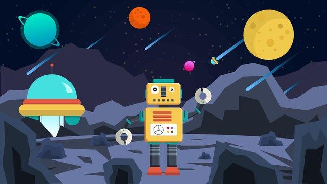 Artificial intelligence robot technology planet exploration, Artificial Intelligence, Robot, Technology illustration image