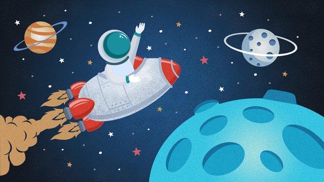 space exploration robot rides rocket llustration image illustration image