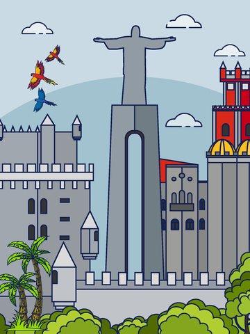 브라질 현지 랜드 마크 건물 삽화 소재
