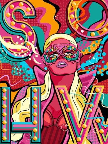 ilustração original mão desenhada fluindo cor de doces cartaz promoção moda Material de ilustração