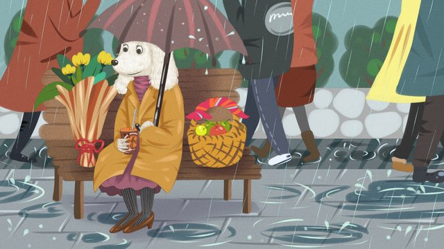 caring for single dogs and hurried crowds in dog rain llustration image