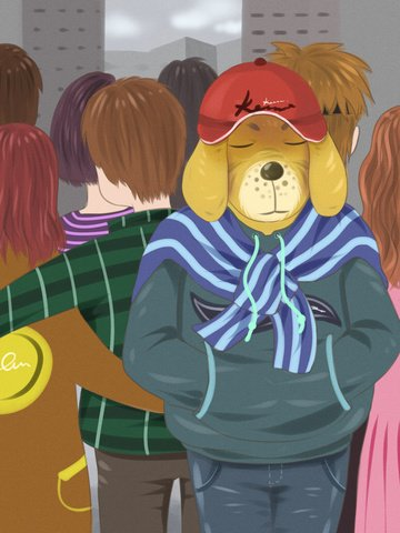 caring for single dogs and lonely bustling crowds illustration image