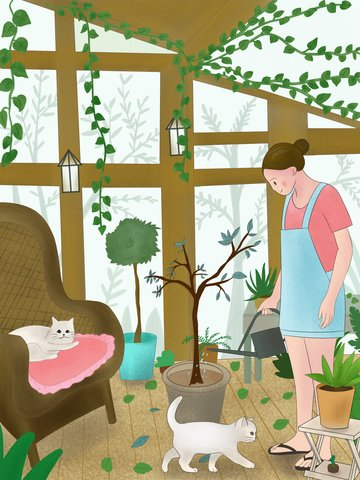 Cute pet accompanying warm scene illustration, Cat, Cute Pet, Flower House illustration image