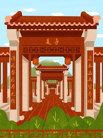 चीनी शैली की इमारत आंगन चित्रण चित्रण छवि चित्रण छवि