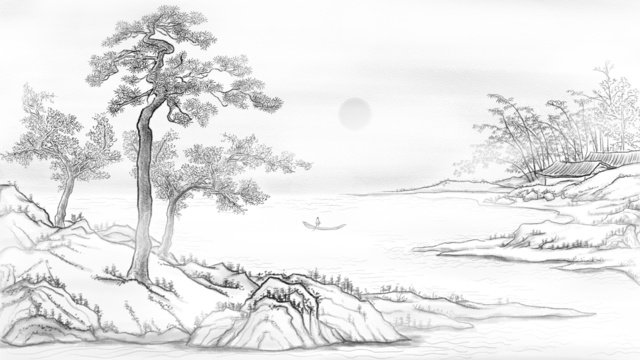 Chinese style landscape ink hand drawn illustration, Chinese Style, Landscape, Ink illustration image