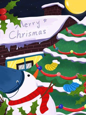 元のクリスマス休暇雪だるまクリスマスツリー手描きイラスト イラスト素材