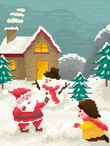 작은 집 크리스마스 빈티지 픽셀 바람 산타 클로스 삽화 소재