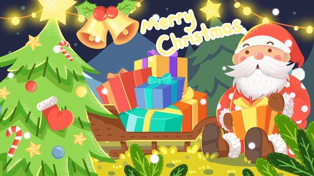 عيد الميلاد سانتا كلوز مع هدية التوضيح مواد الصور المدرجة