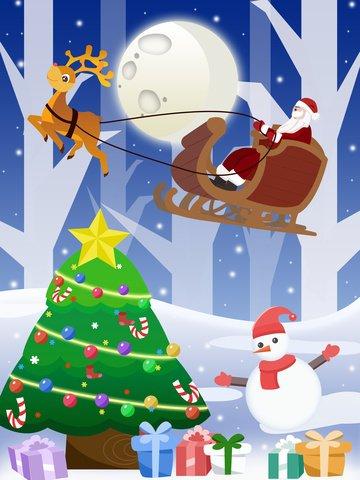 عيد الميلاد سانتا كلوز مع شجرة مواد الصور المدرجة