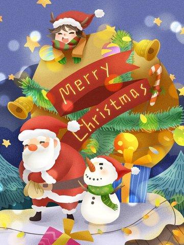ثلج عيد الميلاد سانتا كلوز يحمل حقيبة هدية مواد الصور المدرجة