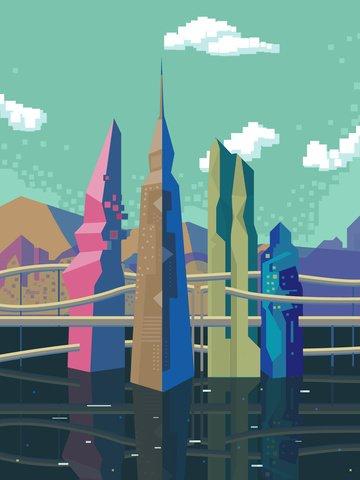 都市シルエット未来都市交通ピクセル図街のシルエット  市  ピクセル絵 PNGおよびPSD illustration image