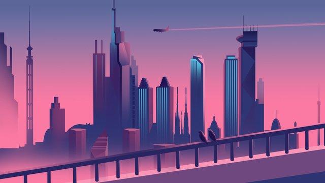 城市剪影早晨插畫 插畫素材 插畫圖片