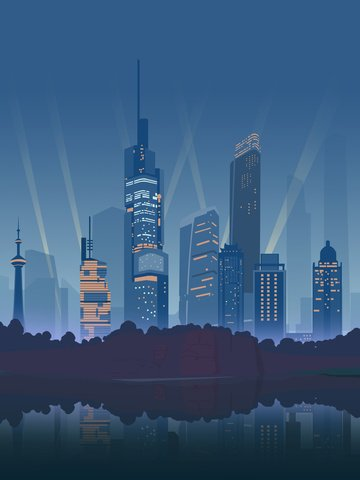 City silhouette illustration jinling impression nanjing landmark building grimace, City Silhouette Illustration, City Silhouette, City illustration image