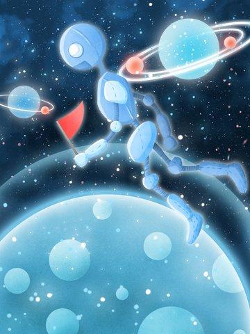 Cosmic adventure illustration robot boarding alien llustration image