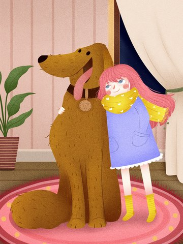 Meng pet warm companionship with google texture little girl and dog illustration llustration image