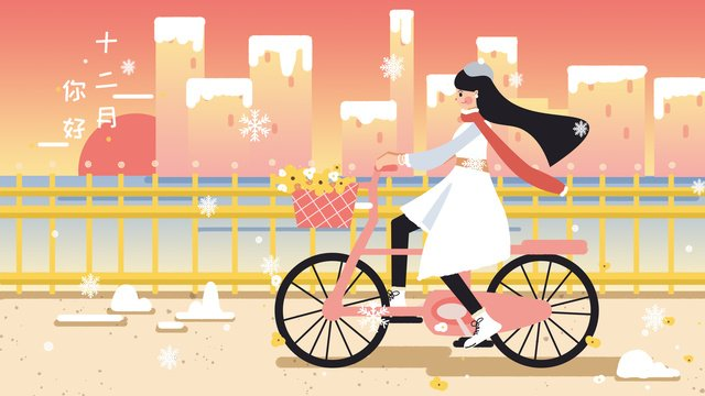 december hello winter girl bicycle illustration llustration image