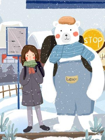 12 월 안녕하세요 곰과 소녀 귀여운 따뜻한 일러스트 레이션 삽화 소재 삽화 이미지