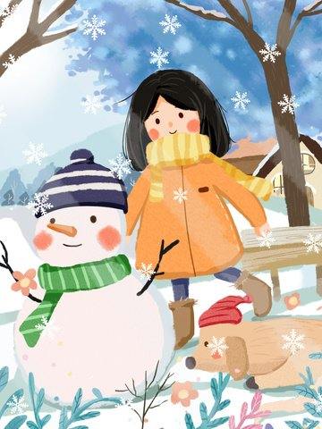 december hello morning with little girl cute warm illustration illustration image