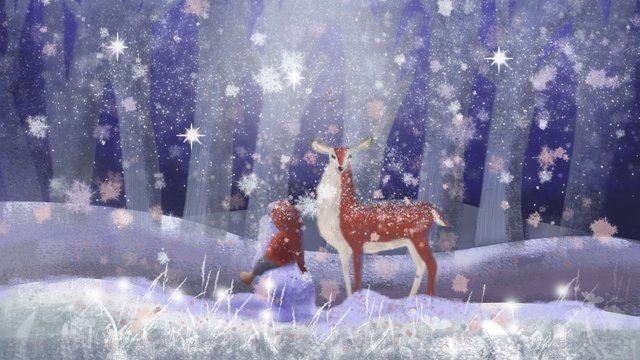 Lin shen encounters deer and old people, Deer, Old Man, Forest illustration image