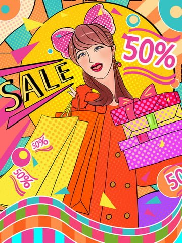 ダブル12 eコマースの女の子ショッピングポップスタイルのショッピングバッグヴィンテージのイラスト イラスト素材 イラスト画像
