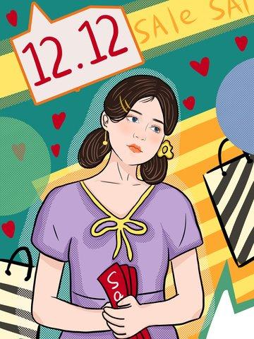 Double twelve-year-old big fashion girl buy pop, Double Twelve, End Of The Year, Big Promotion illustration image