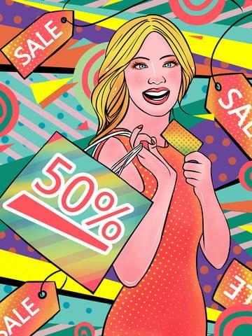 Double twelve shopping scenes Discount Promotion girl, Pop Wind, Retro, Illustration illustration image