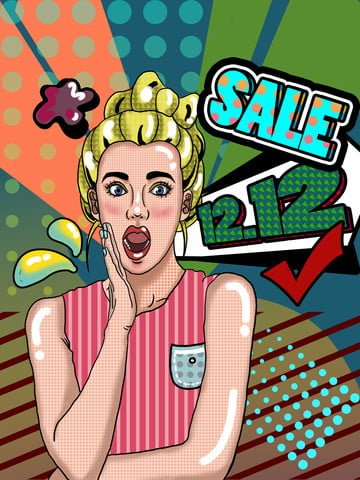 Double Twelve Year-end promotion Pop wind Promotion, Business, Surprised, Shock illustration image