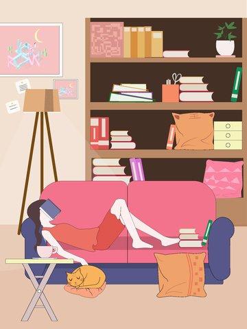 Праздник толстый дом счастливый лежа диван иллюстрация Ресурсы иллюстрации Иллюстрация изображения