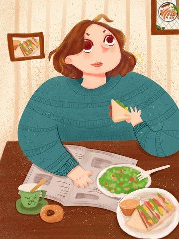 Жирный дом счастливую жизнь завтрак время оригинальная иллюстрация Ресурсы иллюстрации Иллюстрация изображения