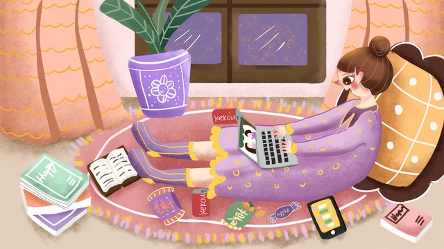 fat house happy time girl ест закуски Ресурсы иллюстрации