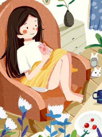 脂肪の家、幸せな時間、家の女の子、携帯電話、かわいい、暖かい、平らなイラスト イラストレーション画像