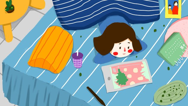 Happy weekend bed time, Fat House, Happy, Weekend illustration image