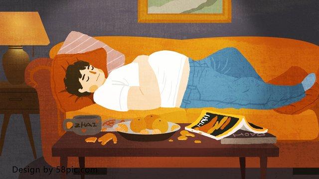 fat house happy time спящего мальчика оригинал рисованной иллюстрации Ресурсы иллюстрации