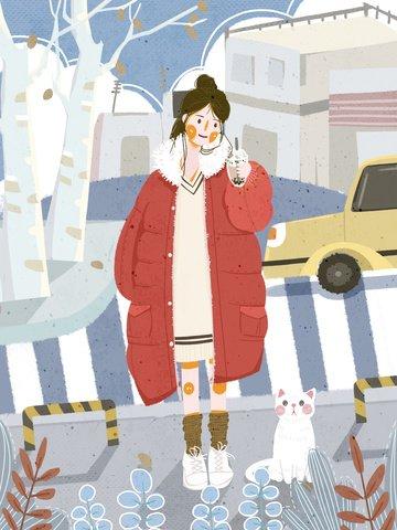 평면 바람 손으로 그린 12 월 소녀 그림 차 마시는 안녕하세요 삽화 소재