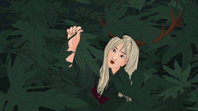 original forest deep see deer elf girl hand painted illustration llustration image