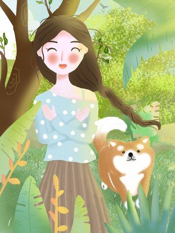 Девушка и собака лесной иллюстрации Иллюстрация изображения