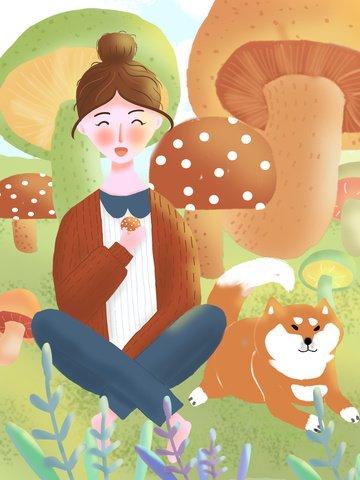 Акварельный ветер иллюстрация девочка и собака Иллюстрация изображения
