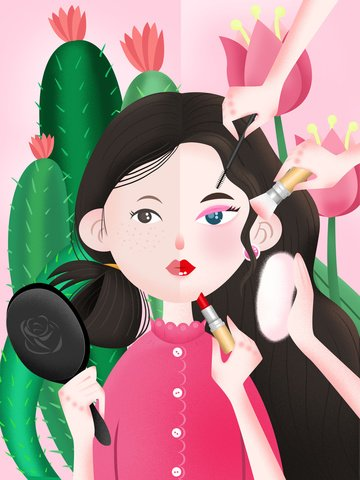 Girl makeup beauty before and after fresh texture illustration llustration image illustration image