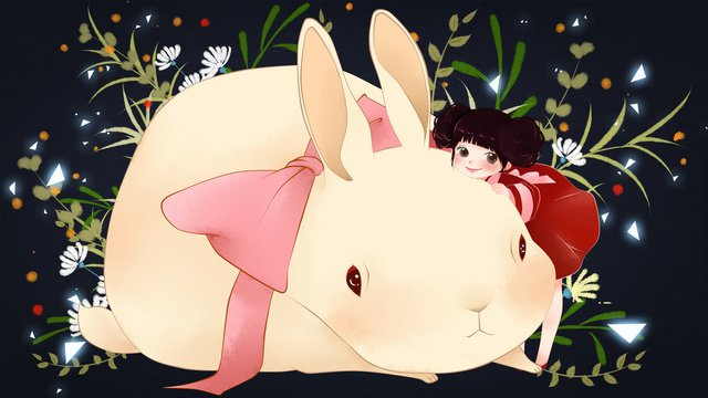 Little fresh illustration of girl and cute rabbit, Girl, Rabbit, Lovely illustration image