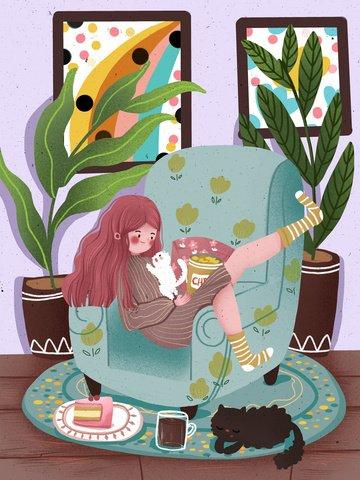 Гнездо девушки счастливой жизни толстого дома на иллюстрации кота софы смешной Ресурсы иллюстрации