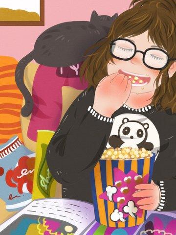 Счастливый дом в толстяке дома попкорн чтение журнала Ресурсы иллюстрации Иллюстрация изображения