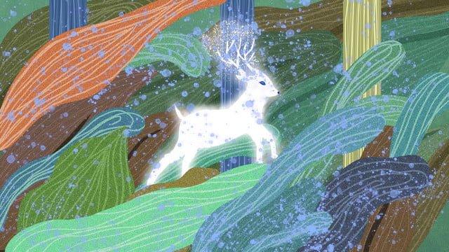 Healing forest running deer, Healing, Deer, Run illustration image