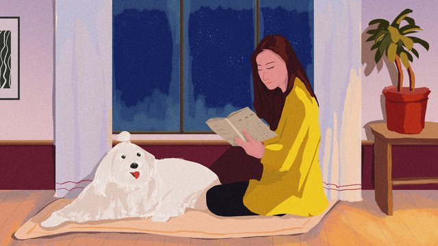 december hello master and pet winter night warm reading original illustration llustration image