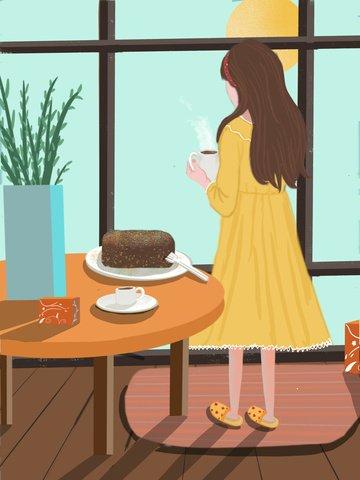 12 월 안녕하세요 활기찬 아침 신선한 일러스트 레이션 삽화 소재 삽화 이미지